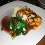 Grilled Salmon Recipe Pinot Noir Reduction & Truffle Garlic Spinach