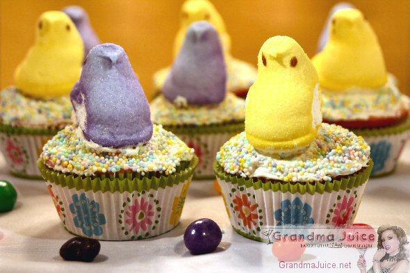 Easter Lemon Cupcakes Peeps