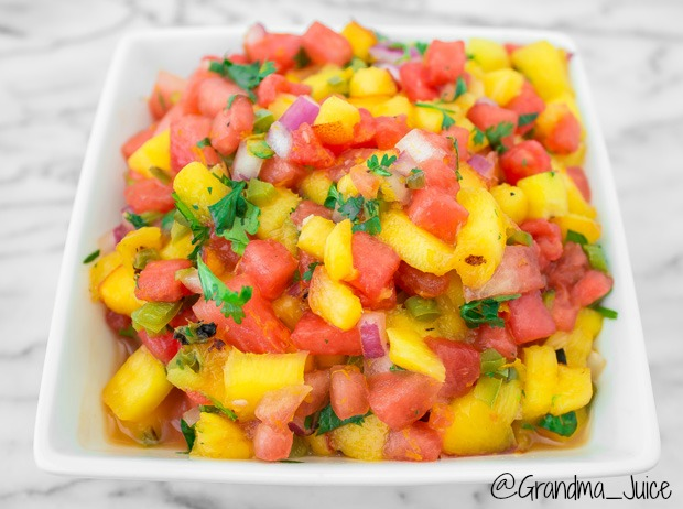 Grilled Peach, Jalapeno and Watermelon Salsa | Grandma Juice Blog